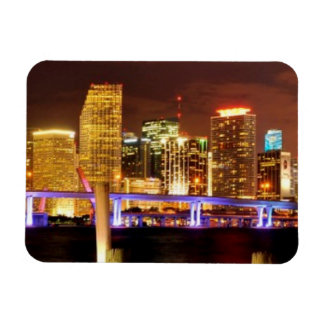 Miami skyline at night, Florida Rectangular Magnet