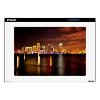 "Miami skyline at night, Florida 15"" Laptop Skins"