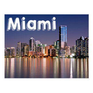 Miami Skyline At Night, Miami Florida, USA Postcard