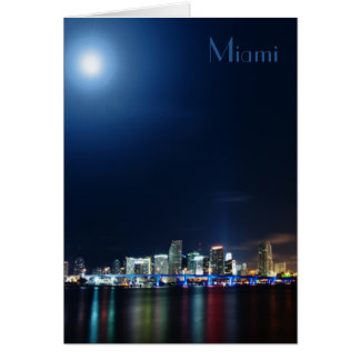 Miami skyline at night panorama - Greeting Card