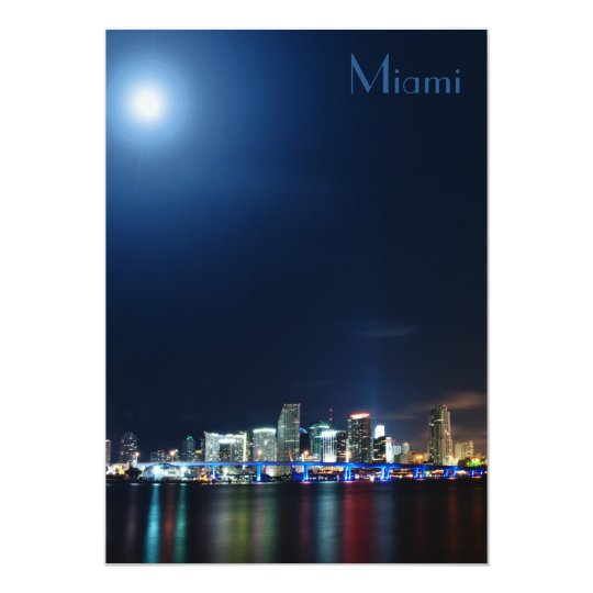 Miami skyline at night panorama - Invitation