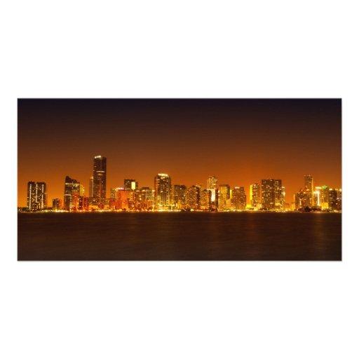 Miami skyline at night panorama - Photo Card