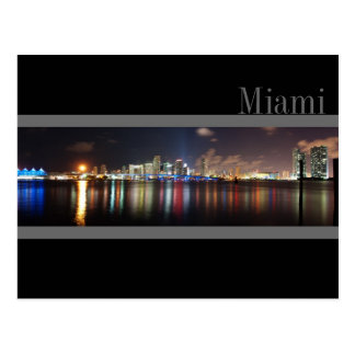 Miami Skyline at Night Panorama Photo- Postcard