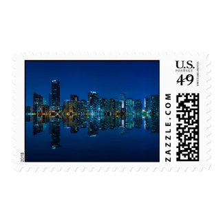 Miami skyline at night panorama - Postage Stamps