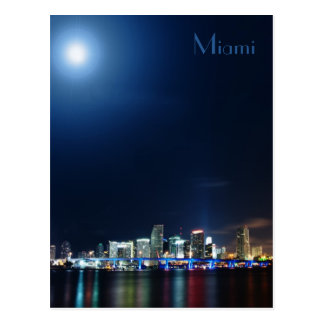 Miami skyline at night panorama - Postcard