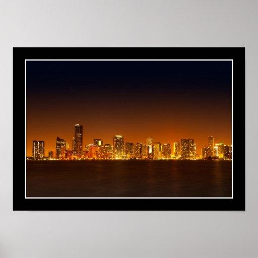 Miami skyline at night panorama - Poster