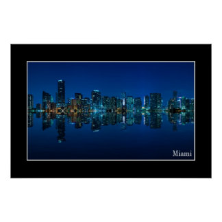 Miami skyline at night panorama - Poster