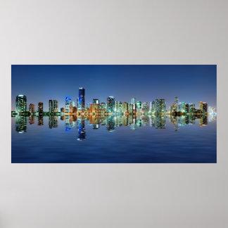 Miami skyline at night panorama poster