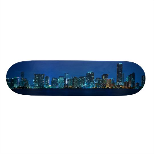 Miami skyline at night panorama - Skateboard