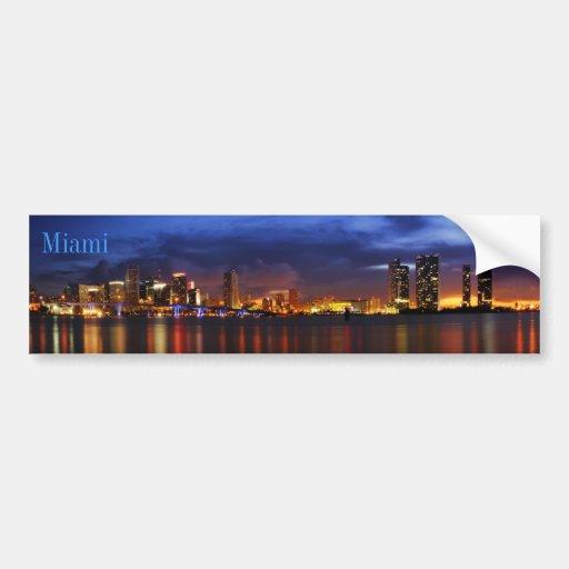 Miami skyline at night panorama - Sticker Car Bumper Sticker