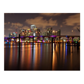 Miami skyline at night - Postcard