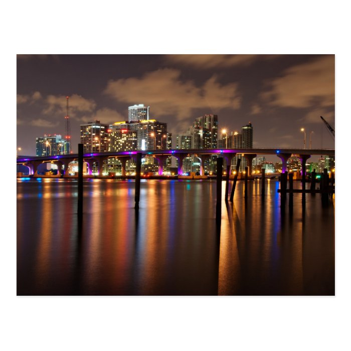 Miami skyline at night - Postcard