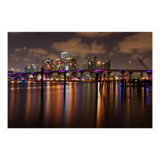 Miami skyline at night - Poster