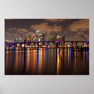Miami skyline at night - Poster