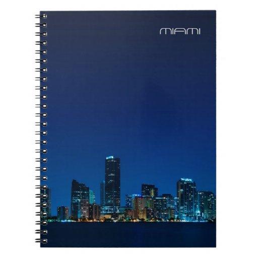 Miami skyline at night spiral note book