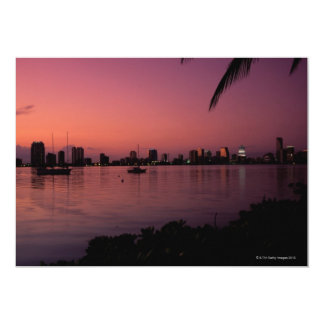 "Miami Skyline at Sunset 5"" X 7"" Invitation Card"