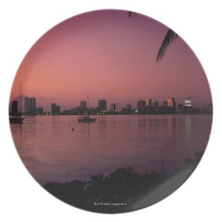 Miami Skyline at Sunset Plate