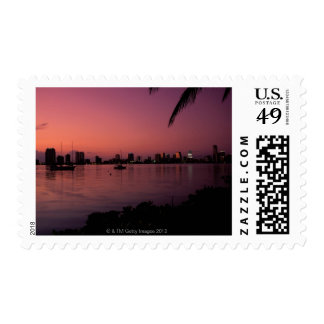 Miami Skyline at Sunset Postage
