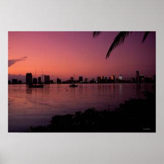 Miami Skyline at Sunset Poster