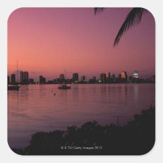 Miami Skyline at Sunset Square Sticker