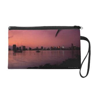 Miami Skyline at Sunset Wristlet Purse