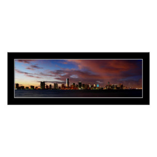 Miami skyline at twilight panorama - Poster