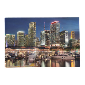 Miami skyline city in Florida Placemat
