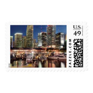 Miami skyline city in Florida Postage Stamp