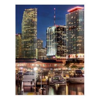 Miami skyline city in Florida Post Card