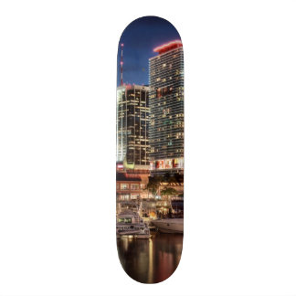 Miami skyline city in Florida Skateboard