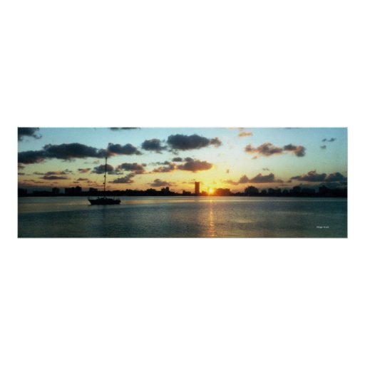 Miami Skyline, Florida Sunset Boat Poster