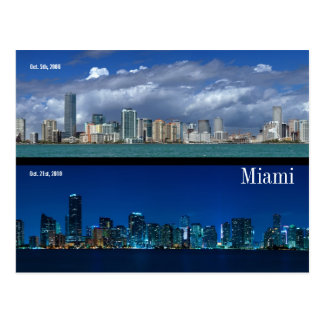 Miami Skyline in 2006 and 2010 Postcard