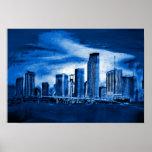 Miami Skyline in Blue Poster