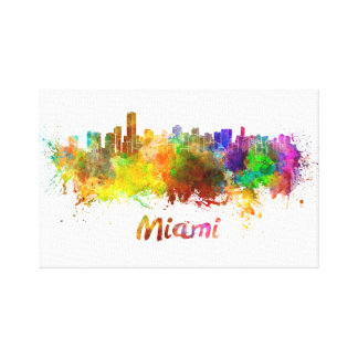 Miami skyline in watercolor impresión en lienzo
