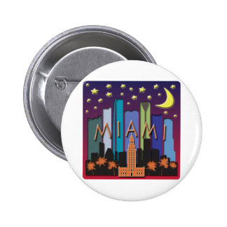 Miami Skyline Mega Color Pinback Button