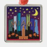 Miami Skyline Mega Color Square Metal Christmas Ornament