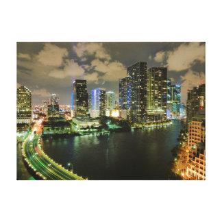 Miami skyline night canvas print
