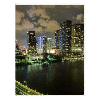 Miami skyline night postcard