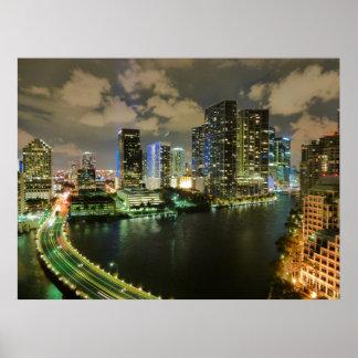 Miami skyline night poster