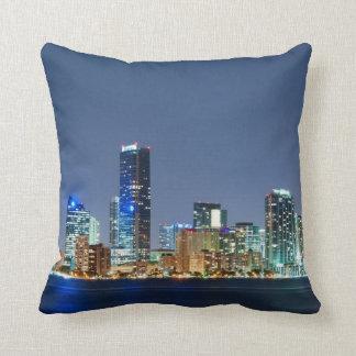 Miami Skyline Panorama Throw Pillows