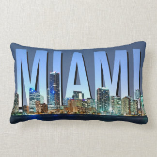 Miami Skyline Panorama Throw Pillow