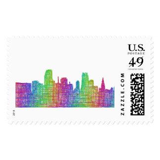 Miami skyline postage stamp