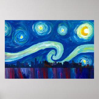 Miami Skyline Silhouette at Starry Night Poster