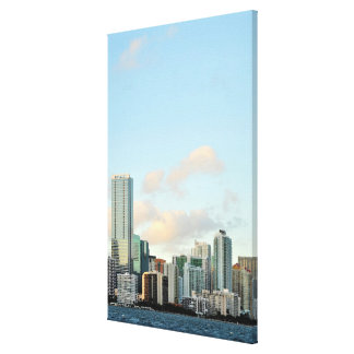 Miami skyscrapers against wide clear sky canvas prints