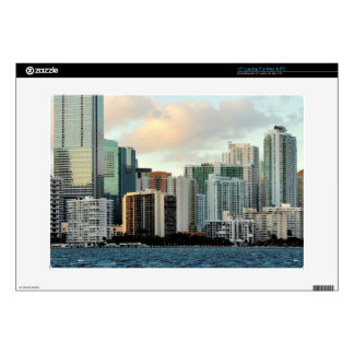 Miami skyscrapers against wide clear sky laptop decals
