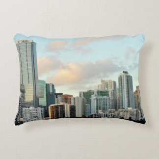 Miami skyscrapers against wide clear sky accent pillow