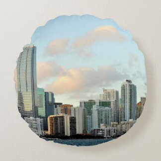 Miami skyscrapers against wide clear sky round pillow