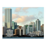 Miami skyscrapers against wide clear sky postcard