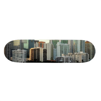 Miami skyscrapers against wide clear sky skateboard