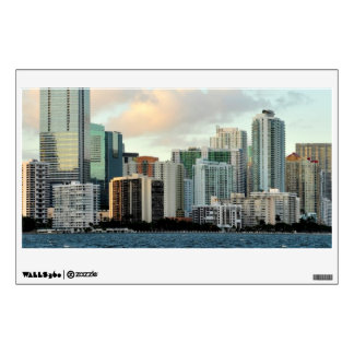 Miami skyscrapers against wide clear sky wall decals